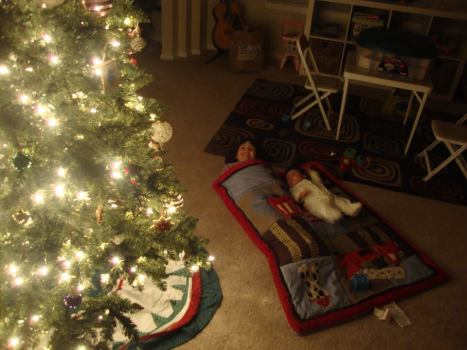 Camped out waiting for Santa