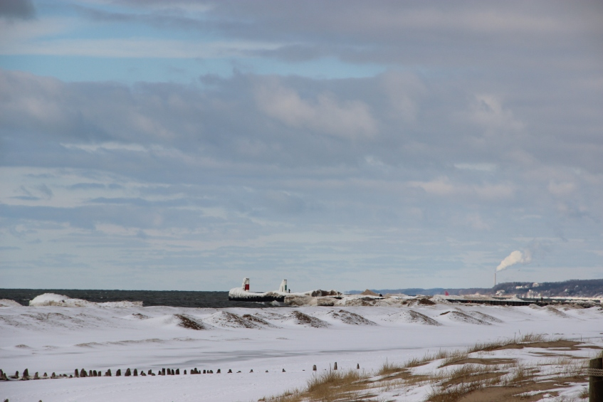 Channel lighthouses in the distance.