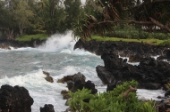 The surf was high on the lava rock beach.
